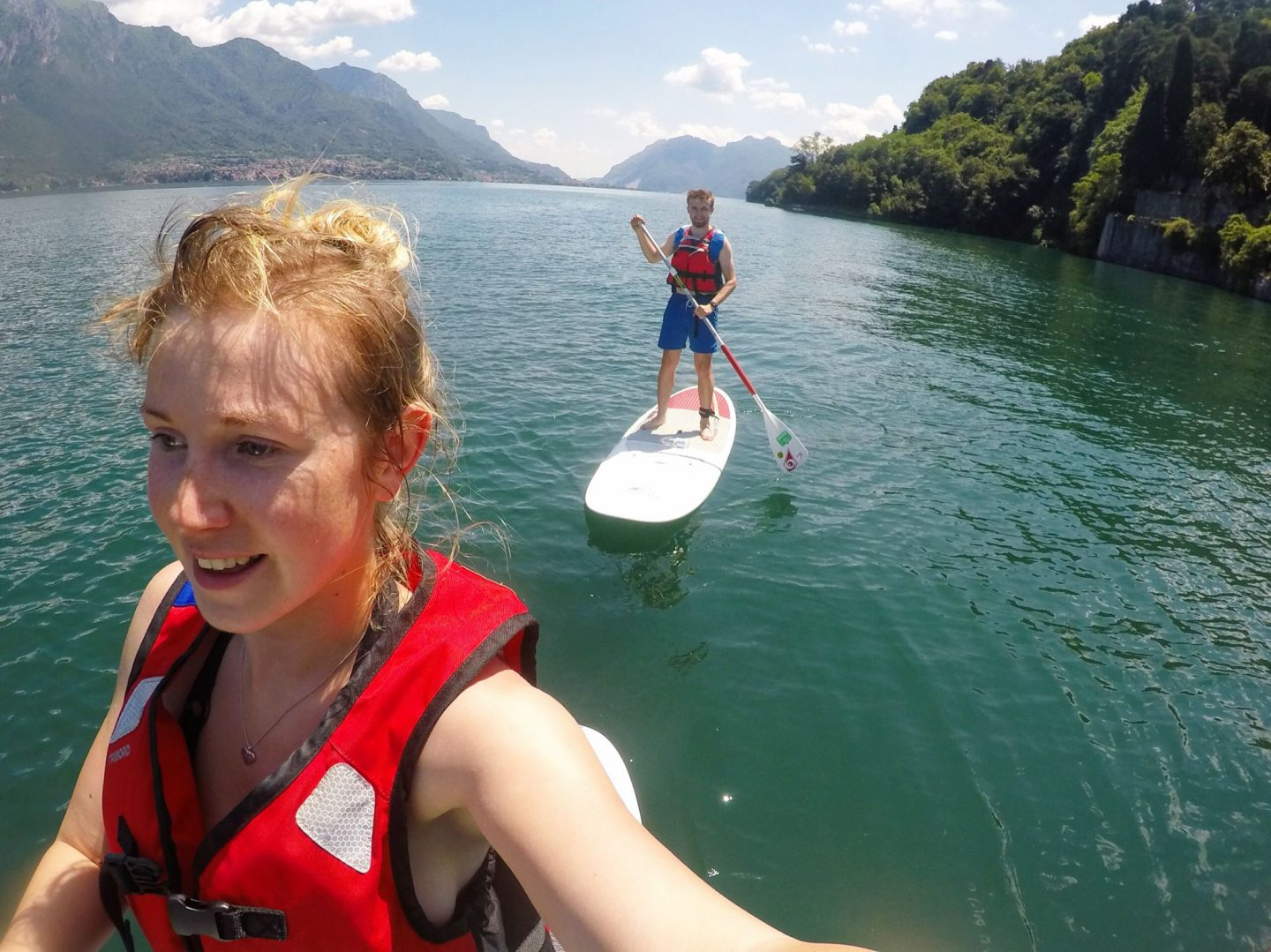 paddleboarding on Lake Como