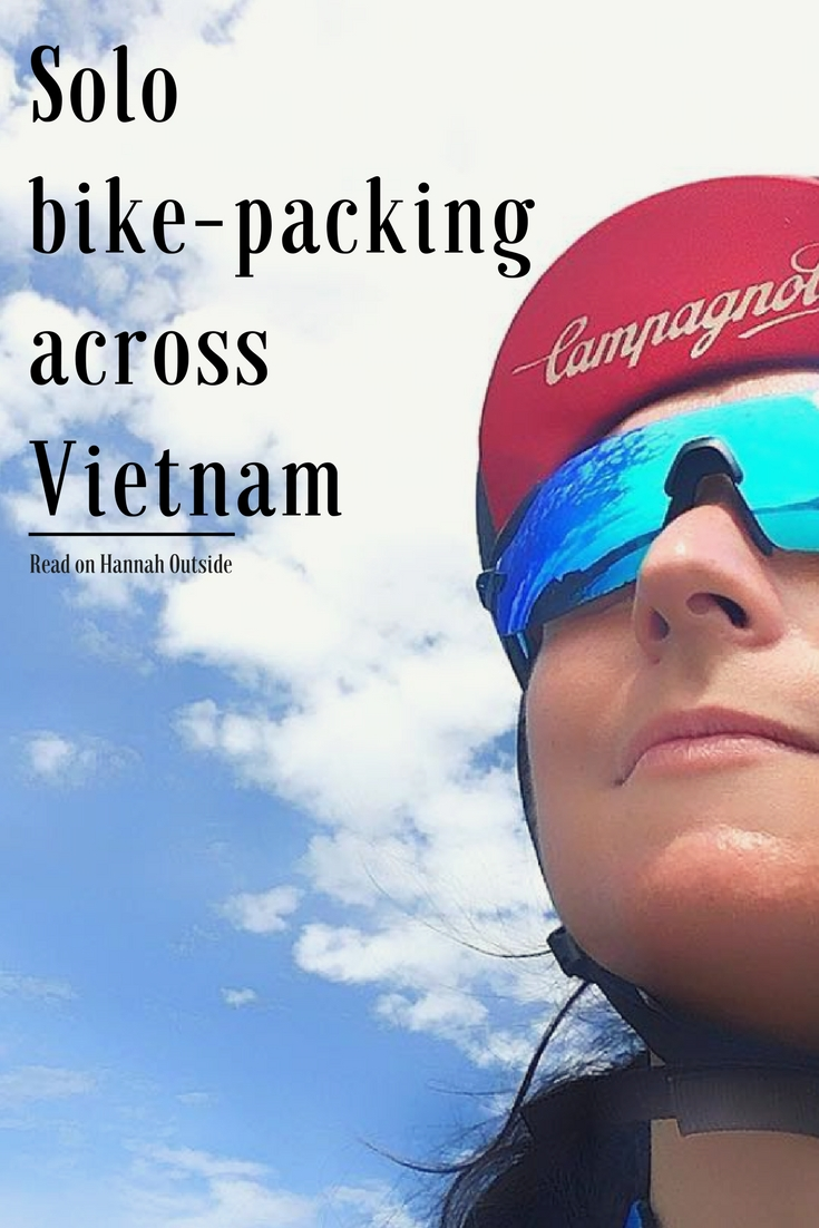 female solo bike packing across Vietnam