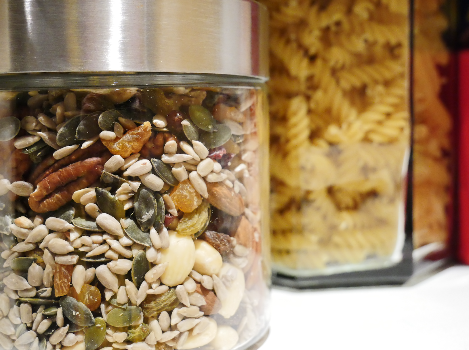Nuts and pasta now in glass jars