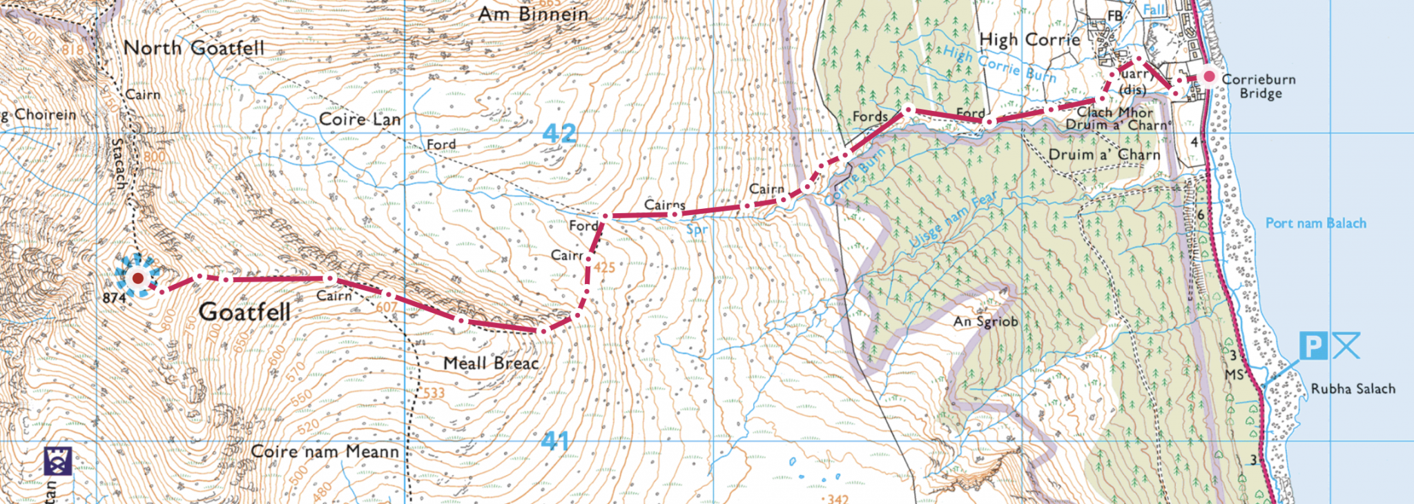 Screen shot of way up Goatfell from OS maps