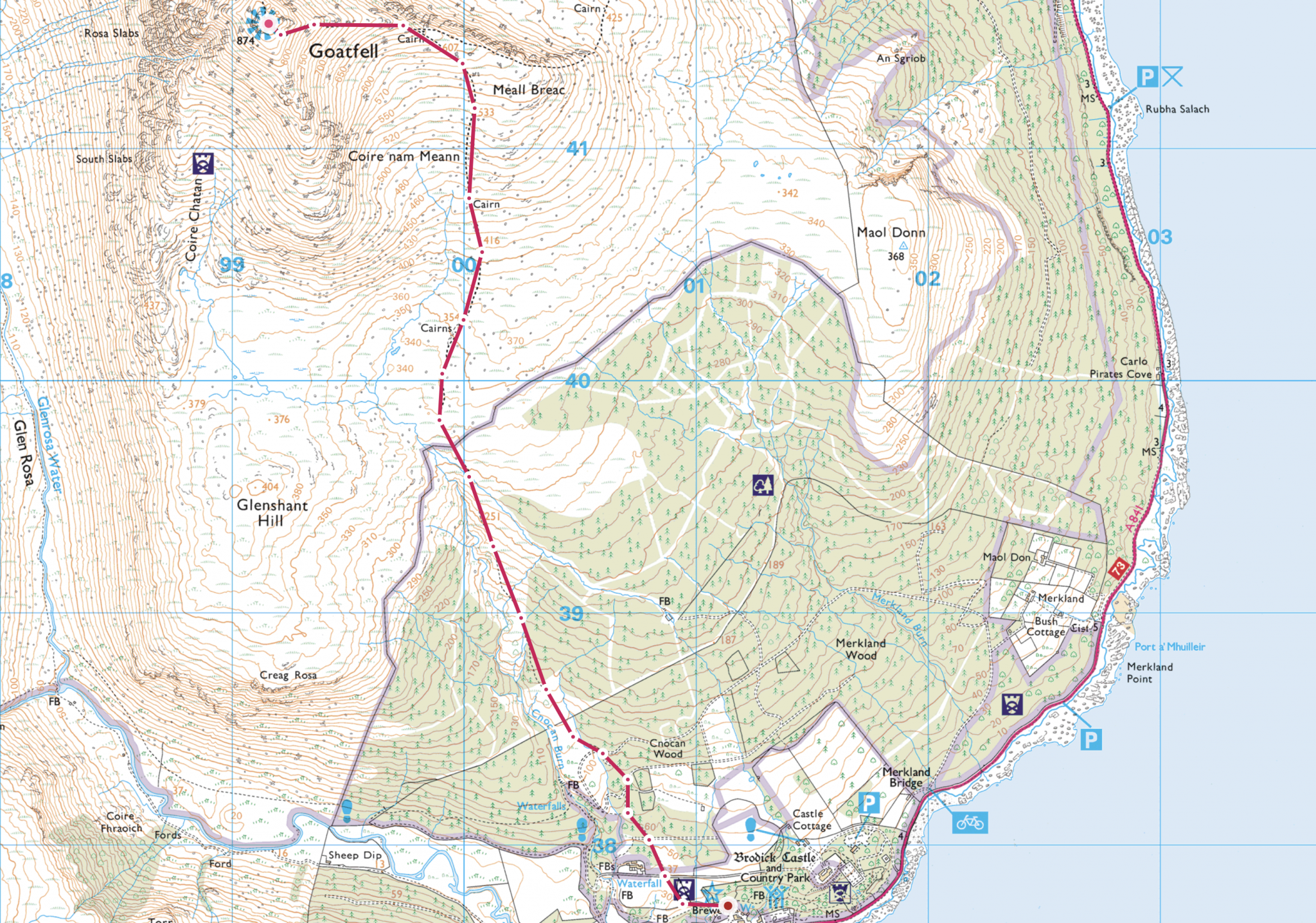 Screen shot of route down Goatfell from OS maps