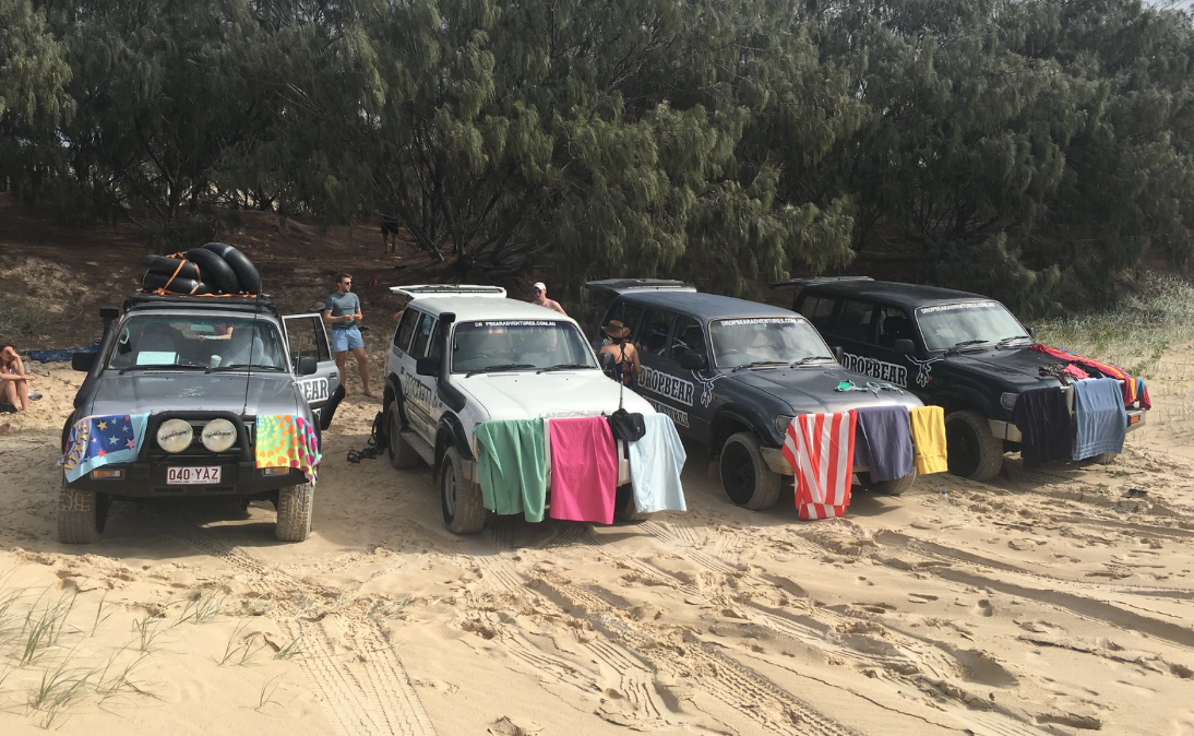Dropbear adventures 4x4s lined up as we have lunch